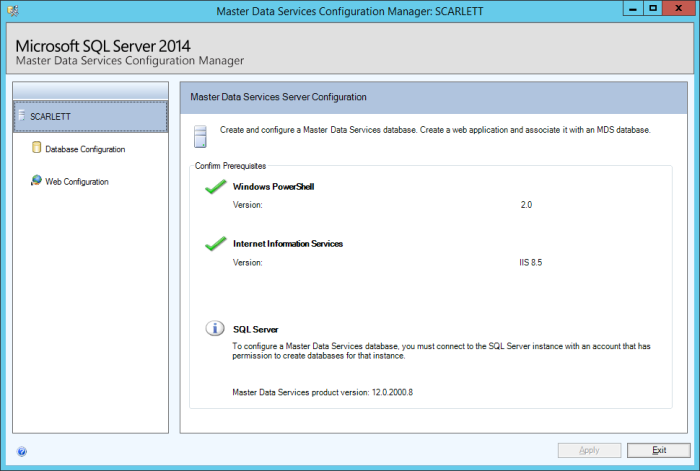Master Data Services Configuration Manager