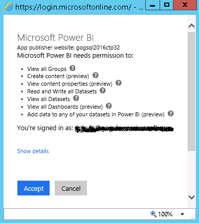 Permissions for Power BI
