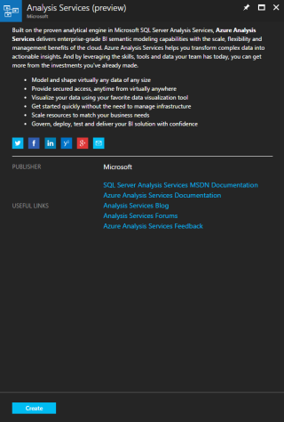 Analysis Services information screen